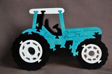 Cabover Farm Tractor Blue Ford New Holland Wood Toy Puzzle Scroll Saw