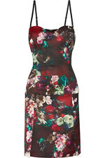 New Roberto Cavalli JUST CAVALLI Fruit & Floral Satin Built-In Bustier Dress 40