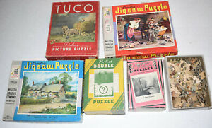 Lot of 5 Vintage Jigsaw Puzzles~MB Croxley~Tuco~Perfect Picture~Perfect Double
