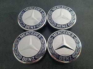 4x Mercedes Benz Radnabendeckel Radnaben Radkappen 75 mm Dunkelblau
