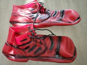 men women RED FLEXIBLE RUBBER CLOWN JESTER SHOES one size fits most HALLOWEEN @@