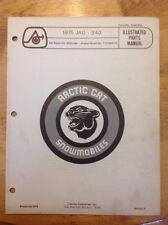 Arctic Cat Snowmobile Parts Book Manual 1975 Jag 340