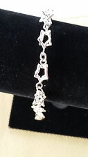 "Fine Sterling Silver Star Design Chain Link Bracelet 7.5"" Dobbs Boston Italy"