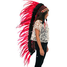 Extra Long Native American Indian Style Headdress - ADJUSTABLE - Red Rooster