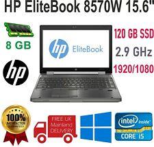 """HP EliteBook 8570W 15.6"""" INTEL CORE i5 3RD GEN 8GB RAM 120GB SSD WINDOWS 10"""