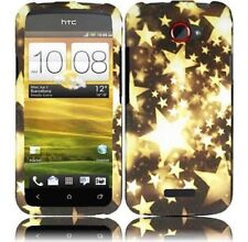 For T-Mobile HTC ONE S Rubberized HARD Protector Case Snap Phone Cover Gold Star