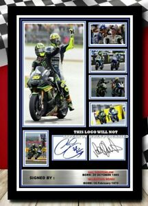 (505) valentino rossi & cal crutchlow moto gp signed photograph unframed/framed