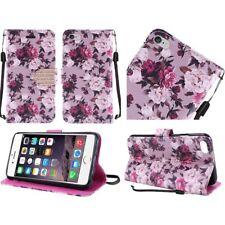 Roses Folio Flip Leather Case for Apple iPhone 6 6s Plus Purple White