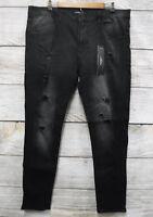 Kayden K Jeans Mens 34X32 Black Distressed Skinny Stretch Ribbed Side Jeans New