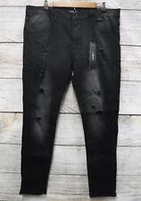 Kayden K Mens 32X32 Black Distressed Skinny Stretch Ribbed Side Jeans New