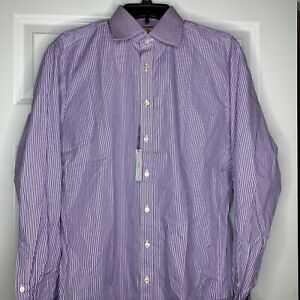 New Thomas Pink Men Purple White Striped Slim Fit LuxuryDress Shirt French Cuff