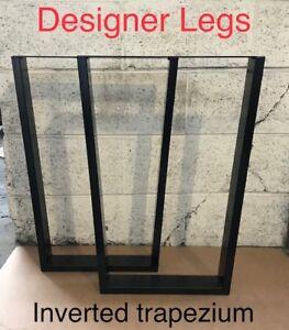 2x Table INVERTED TRAPEZIUM legs Metal Steel Industrial Rustic Hairpin UK