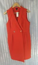 River Island Red/orange Sleeveless Diamante Buttons Tux Dress party Size 14 NEW