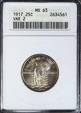 1917 Standing Liberty 25C MS63 63 ANACS Silver Quarter Type 2 Coin BU