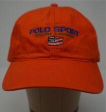 3c51b912f408f Rare Vintage POLO SPORT Ralph Lauren Spell Out USA Flag Hat Cap 90s Orange  NWT