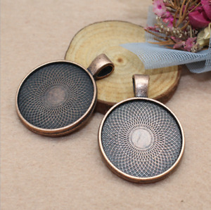 5/25pcs 25mm round double-sided tape backing time precious alloy pendant pendant