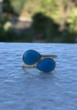 18k Yellow Gold Overlap Design Turquoise Adjustable Ring 3.72 Cts
