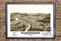 Vintage Hillsborough-Bridge, NH Map 1884 - Historic New Hampshire Art Industrial