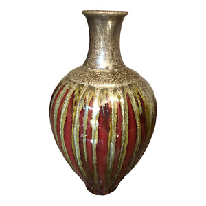 """Pier One Imports Pottery Drip Glaze Vase Brown and Green 11.5"""" Tall"""