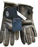 UGG Gloves Bailey Button Chocolate Bomber Shearling S or M NEW $160