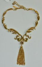 $975 NEW Oscar de la Renta Chain Tassel Collar Scroll Necklace Gold Pearls