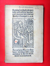 Rarität: Martin Breslauer / Berlin * Antiquariats-Katalog Nr. 1 * ~1905