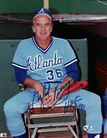 "Gaylord Perry Signed 8X10 Photo ""HOF 91"" Autograph Atlanta Braves on Bench w/COA"