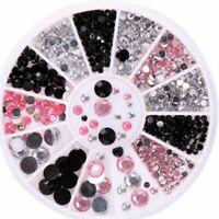 HB- FT- Mixed 3D Nail Art Tips Glitter Crystal Rhinestone Gem DIY Decor 13 Grid