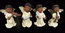 4 Black Boy Angel Playing Instruments Figurines - Christmas African Americans
