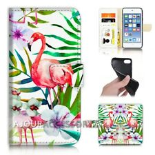 ( For iPod Touch 6 ) Wallet Flip Case Cover AJ21570 Flamingo Bird