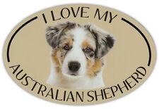 Oval Dog Breed Picture Car Magnet - I Love My Australian Shepherd (Aussie)