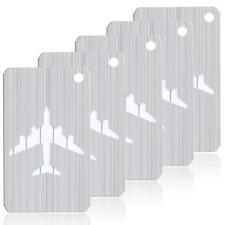 5-Pack Brushed Aluminum Finish Travel Luggage Tags Suitcase Labesl - Silver