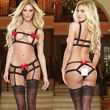 Stretchable 3 Point Red Bow BDSM Dominatrix Stripper Lingerie with Garter Clips