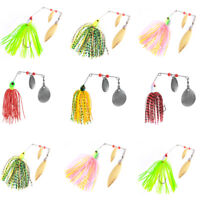 10pcs Saltwater Fishing Lure Spinner baits Jig Head Silicone Fishing Lure Hooks