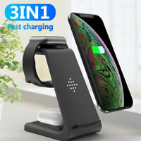 AU_ 3 in 1 Qi Wireless Fast Charging Charger Dock Stand for iPhone for AirPods P