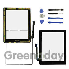 FOR IPAD 3/4 BLACK REPLACEMENT SCREEN TOUCH DIGITIZER+MID FRAME BEZEL&HomeButton