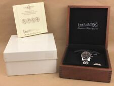 EBERHARD & CO CHRONO 4 BLACK FACE WATCH COMPLETE WITH BOX - NICE