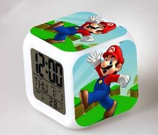7 Color Changing LED Night Light Super Mario Figures Alarm Clock Watch Toy Gift