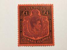 old stamp  LEEWARD ISLANDS    KGVI   1  pound    mint