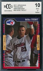 MIKE TROUT 2011 GRANDSTAND ARKANSAS TRAVELERS BCCG 10 ROOKIE CARD #28!  RARE!