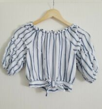 Habitual Girl Youth  Size 12 Waterfall Sleeve Top white w/ blue stripes