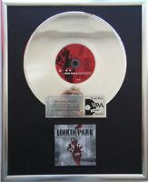 """Linkin Park Hybrid Theory CD/Cover gerahmt +12"""" Deko goldene Vinyl Schallplatte"""