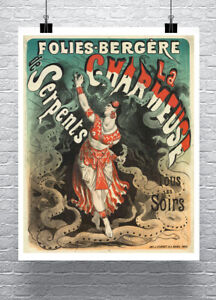 Serpent Charmer 1900 Snake Sideshow Poster Fine Art Print on Canvas or Paper