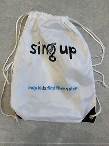 White Sing Up Drawstring Bag