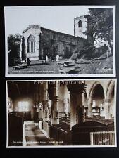 North Yorkshire Dales 2 x KIRBY MALHAM CHURCH Old RP Postcard by Walter Scott