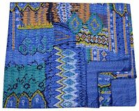Indian Handmade Ikat Gudari Blue Queen Size Kantha Quilt Throw Bedspread Blanket