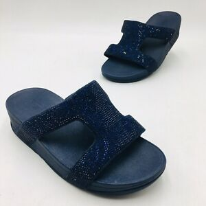FitFlop Women's Ritzy Crisscross Wedge Slide Sandal Size 5 Navy, MSRP $100