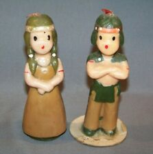 Vintage Gurley Thanksgiving Candles Man Woman Indians Unused