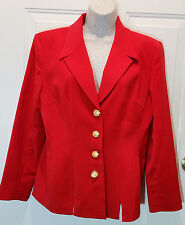 Womens Red Sag Harbor Suit Jacket Sz 8 Poly Lined Blazer Coat Christmas WB10