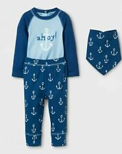 NWT Baby Boys' 3pc Ahoy Bodysuit, Pants and Bib Set Cloud Island